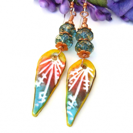 boho turquoise red yellow teardrop jewelry hand carved polymer clay