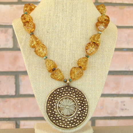 brass flower, amber and turquoise handmade necklace