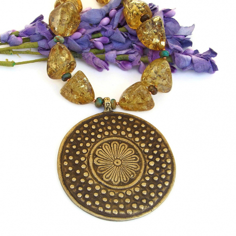 brass flower and dots pendant jewelry with amber gift for her