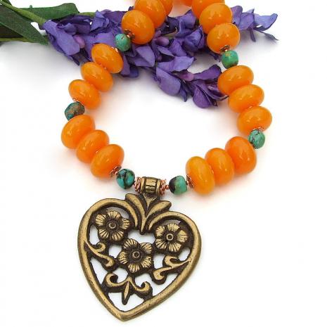 brass heart flower pendant jewelry copal turquoise