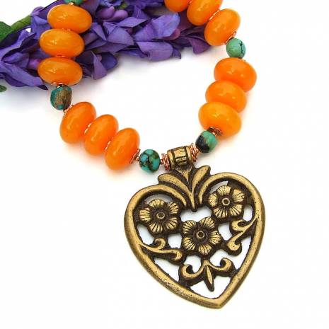 brass heart flower pendant necklace copal turquoise