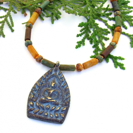 brass shakyamuni buddha pendant jewelry with earthy czech glass