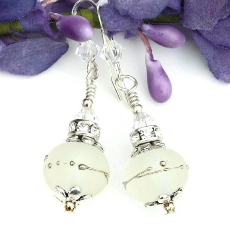frosted lampwork and crystal wedding earrings for a bride