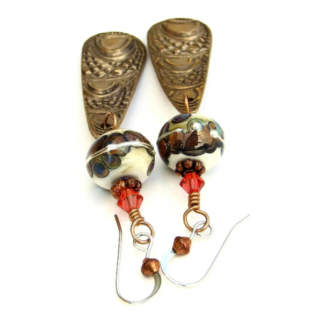 Bronze and lampwork earrings