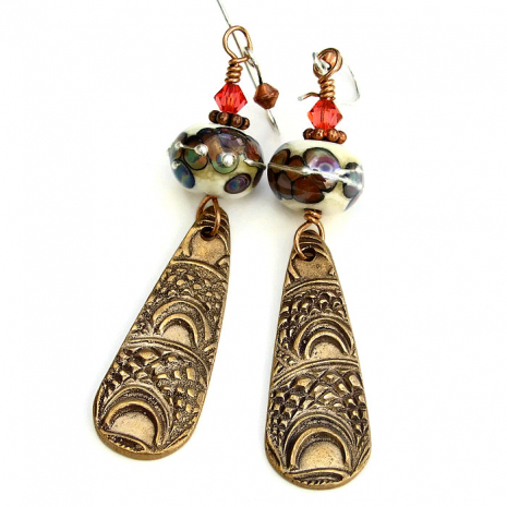 Handmade bronze earrings for women