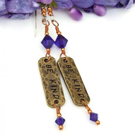 bronze and purple dangle earrings