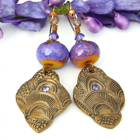 bronze lavender purple Casablanca earrings