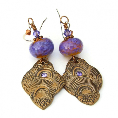 exotic boho bronze and lampwork dangle jewelry for women