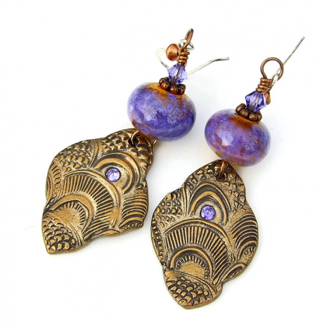 handmade bronze lavender and orange jewelry gift for women