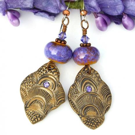 pretty bronze dangle boho earrings for her