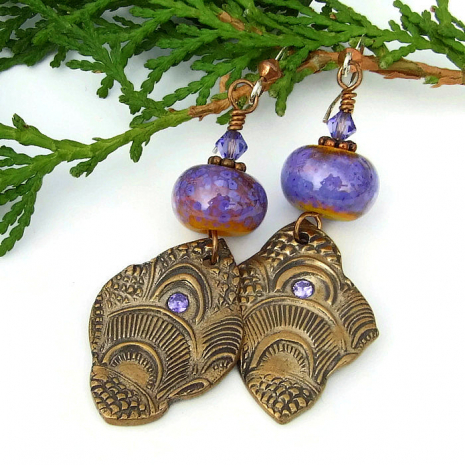 handmade bronze lavender and orange earrings gift for women