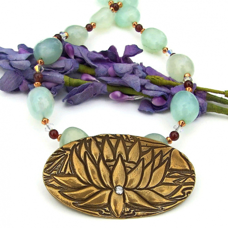 bronze lotus blossom pendant yoga necklace with gemstones