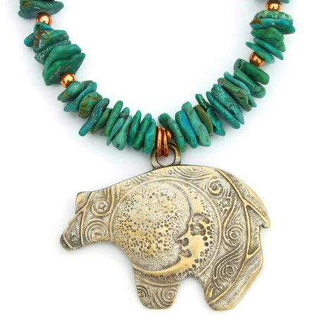 bronze moon bear turquoise jewelry gift for her