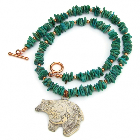 bronze moon bear turquoise necklace gift for her