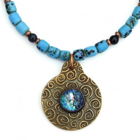 bronze spiral and dichroic pendant jewelry for women