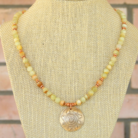 bronze spiral sun and gemstones handmade summer necklace