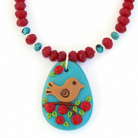 brown bird red flowers polymer clay pendant necklace