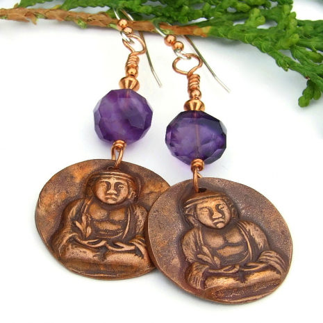 buddha crown chakra dangle earrings gift for women