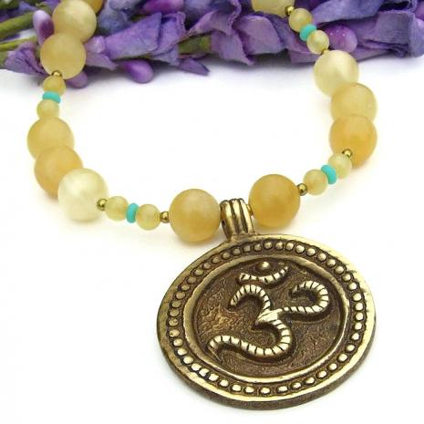 aum om brass pendant yoga jewelry for her