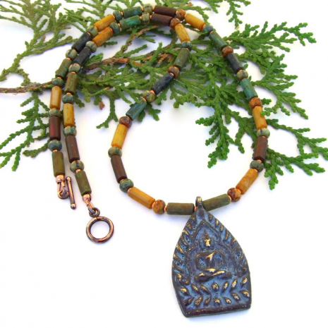 buddhist shakyamuni buddha necklace with unalome symbol
