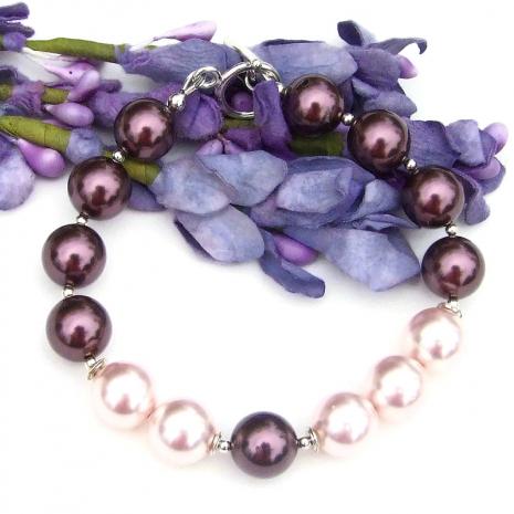 burgundy and rosaline swarovski pearl bracelet with sterling silver
