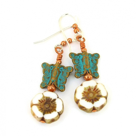 turquoise Mykonos butterfly earrings with Czech glass flowers