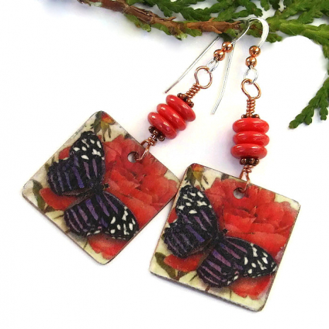 butterfly and red rose earrings for women