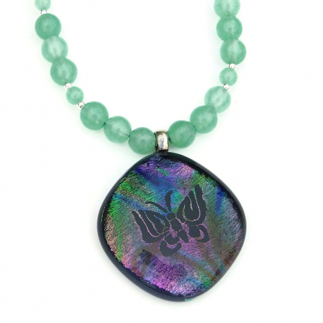 butterfly dichroic pendant necklace gift for her