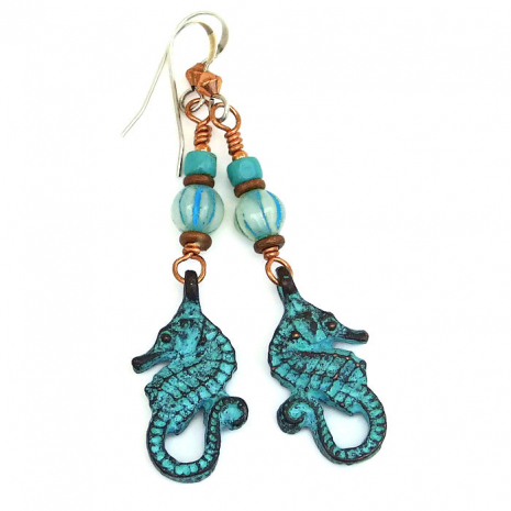 Turquoise patine seahorse earrings for women.