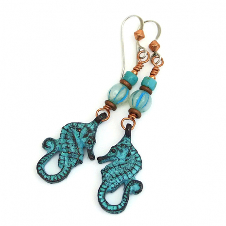 One of a kind seahorse dangle earrings.