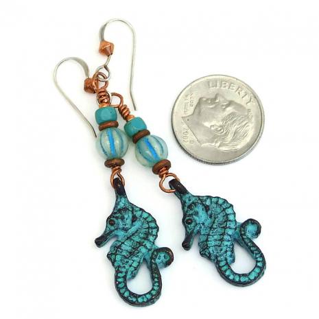 Mykonos seahorse earrings with Czech glass.