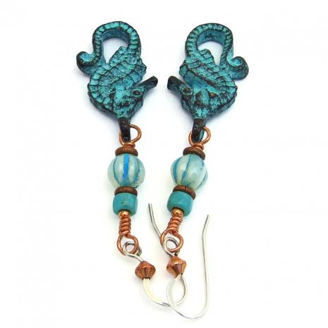 Mykonos seahorse handmade earrings.