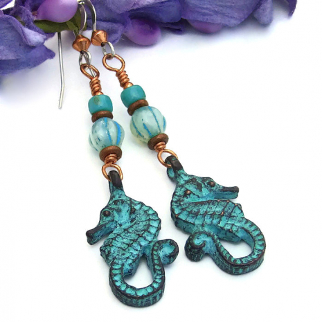 Seahorse jewelry gift idea for women.