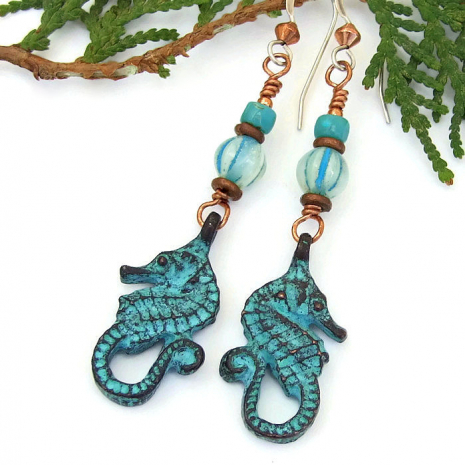Seahorse earrings.
