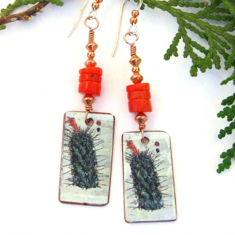 cactus dangles red coral handmade jewelry