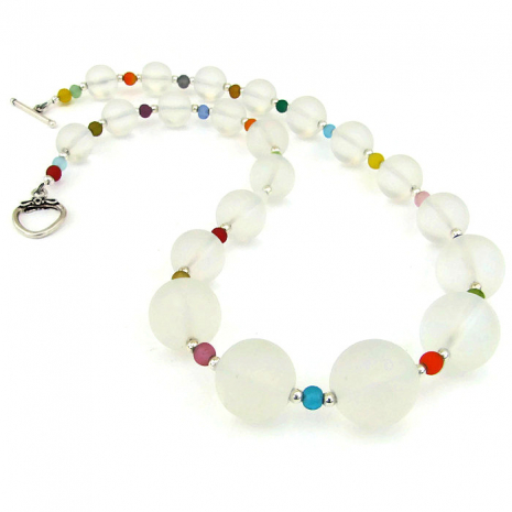 Artisan handmade quartz gemstone necklace.
