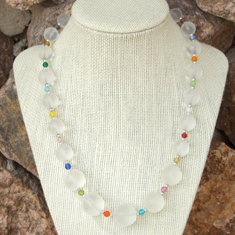 Quartz and Czech glass handmade necklace.