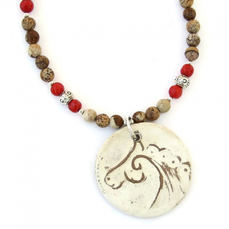 Handmade horse necklace for her.