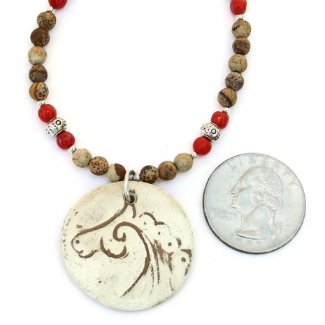 Earthy horse pendant necklace with gemstones.