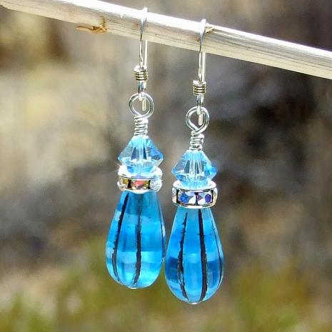 capri blue melon teardrop earrings gift for women
