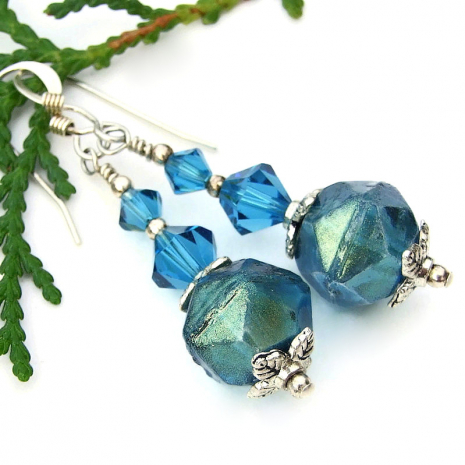caribbean blue english cut glass earrings with Swarovski crystals