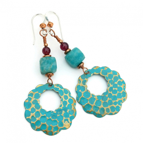 One of a kind scalloped brass hoop earrings with amazonite and garnet.