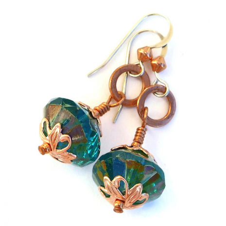 Aqua and copper earrings for women.
