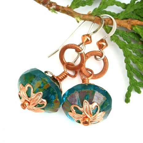 One of a kind aqua and copper dangle earrings.