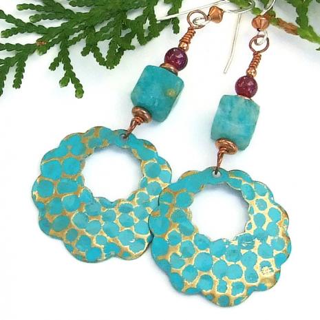 Beautiful turquoise colored handmade hoop earrings with gemstones.