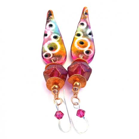 Fuchsia pink handmade boho earrings.