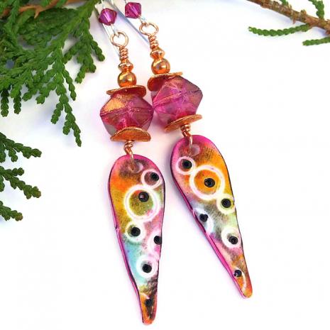 Colorful one of a kind boho spike earrings.
