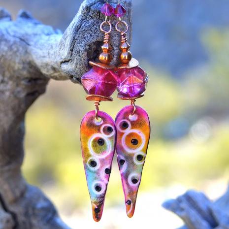 Colorful polymer clay teardrop spike handmade earrings.