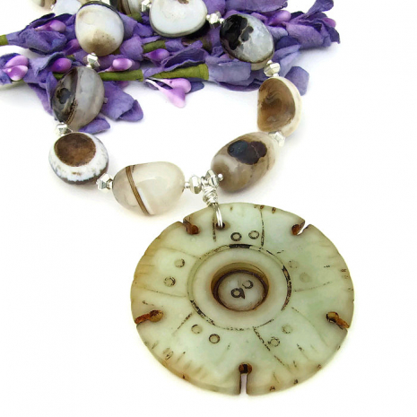 jade lotus pendant necklace with banded eye agate