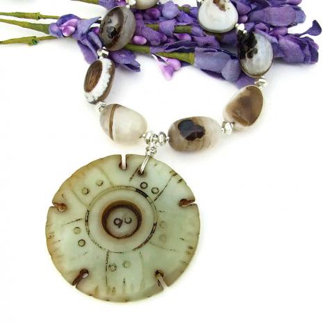 Jade lotus seed pod jewelry